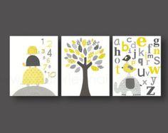 Jaune et gris Chevron décor Décor de la maison bébé garçons