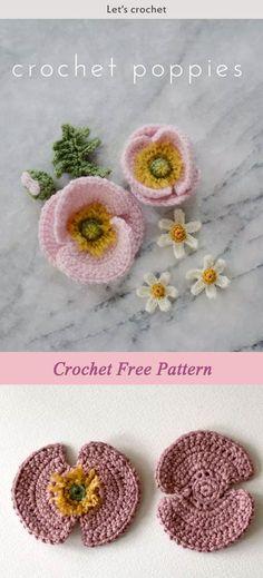 Crochet Iceland Poppy Flower Free Pattern #freecrochetpatterns #flowers