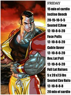 Friday Hero Workouts, Weight Training Workouts, Gym Workouts, Gym Workout Chart, Workout Humor, Gaelic Blessing, Fitness Tips, Fitness Motivation, Superhero Workout