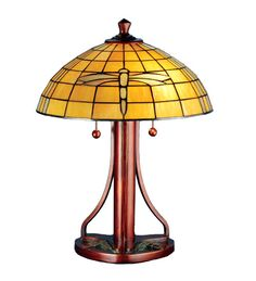"""22""""H Arts and Crafts Dragonfly Table Lamp"""