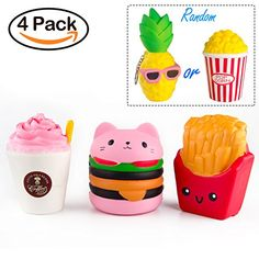 BeYumi Slow Rising Toy Kawaii Hamburger Fries Pineapple Popcorn Drinks Set Meal Squishy Cream Scented Decompression Squeeze Toys for Collection Gift decorative props Large or Stress Relief >>> Find out more about the great product at the image link. (This is an affiliate link)