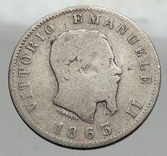 1863 ITALY King Victor Emmanuel II Silver 1 Lira ITALIAN Coin with Crown i62970