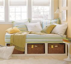"""I love daybeds! Especially daybeds that serve as a """"bench"""" in an office or multipurpose room."""