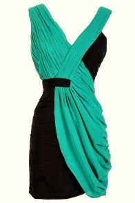 Two Tone V-Neck Pleated Chiffon Designer Dress by Minuet in Navy/Teal  lilyboutique.com!!! gorgeous dresses!