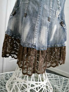 Ruffled taupe lace mermaid jean skirt metallic mocha embellished Renaissance Denim Couture fairy goddess belle bohémienne Made to Order - Jean Skirts - Ideas of Jean Skirts Lace Jeans, Denim And Lace, Thrift Store Refashion, Couture Skirts, Newspaper Dress, Denim Art, Recycled Denim, Recycled Clothing, Lace Mermaid