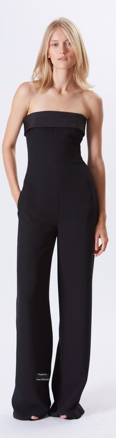 It is black jumpsuit but also it has wide leg pants on the bottom. The line on the waist part looks slim and feminine mode. This pants can be very practical depends on the concept of the style.  Ralph Lauren Collection Pre Spring 2016 collection
