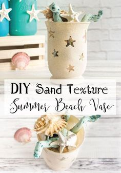 DIY Sand Texture Summer Beach Vase Tutorial