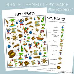 Looking for free printable I spy games for kids? I love this pirates I spy game printable Pirate Games For Kids, Preschool Pirate Theme, Pirate Activities, Preschool Activities, Kids Pirate Crafts, Pirates For Kids, Group Activities, Therapy Activities, Pirate Day