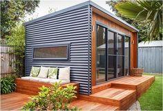 48 Amazing Backyard Studio Shed Design Outdoor Office, Backyard Office, Backyard Studio, Backyard Sheds, Outdoor Living, Backyard Cabana, Backyard Buildings, Outdoor Yoga, Studio Hangar