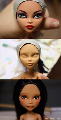 Custom painted Cleo from Monster High by Keera (Nerea Pozo) Is not very well done but is really difficult to paint so tiny eyes ;D Not well done? Custom Monster High Dolls, Monster High Repaint, Custom Dolls, Bjd, Doll Eyes, Doll Face, Doll Crafts, Diy Doll, Bratz Doll