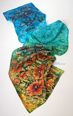 Hand painted Silk Scarf Poppies and Butterflies . by Allaras
