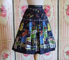 Fabulous original vintage homemade cotton day skirt with soft pleats featuring a rare jazz club posters print. This print can be found in the section in the book: Vintage Fashion Retro Outfits, Vintage Outfits, Cute Outfits, 50s Dresses, Pretty Dresses, Rockabilly Dresses, 1950s Fashion, Vintage Fashion, Vintage Style