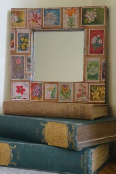 Floral Mirror Frame  Flower postage stamps by alltheseprettythings, £15.00