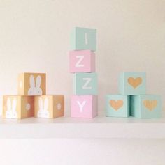 Wooden Letter Play Cubes - Mint and Pastel Pink with White Letters
