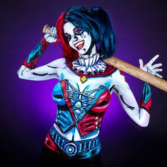 Time Lapse Video of Artist Kay Pike Painting a Harley Quinn Costume on Her Body