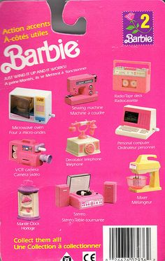 Barbie Action Accents by Barbie Had the sewing machine in blue (rare) and the record player in pink AND purple. I had the sewing machine Barbie I, Barbie Dream, Barbie World, Barbie Stuff, 1980s Barbie, Barbie Princess, Barbie Clothes, Barbie Vintage, Vintage Toys
