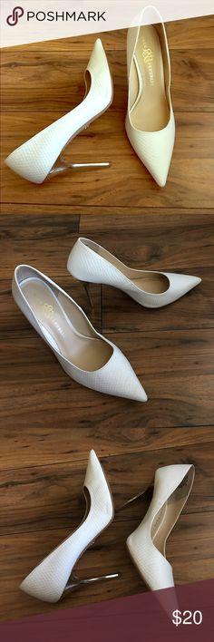 "Rock & Republic GUNNAR White Snakeskin Pumps Gorgeous white R&R pointy toe pumps, with metallic gold mirror stiletto heels.  Heel Height - 4"". Rock & Republic Shoes Heels"