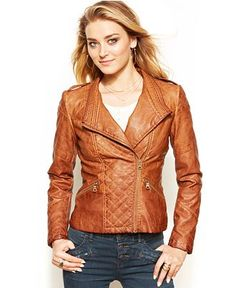 937f1069 GUESS Quilted Faux-Leather Moto Jacket & Reviews - Coats - Women - Macy's