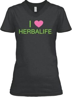 """This is a premium quality women's cut v-neck t-shirt.  It reads """"I love Herbalife"""" on the front and """"Want energy now? Ask me how!"""" on the back. This shirt available in dark grey heather, leaf green, pink, white and black!"""
