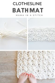 This simple bath mat is made from clothesline rope! It's super simple to crochet with a large crochet hook and rope you can buy online or at major retailers. Free crochet pattern and helpful pictures are included! Crochet Diy, Crochet Home Decor, Crochet Gifts, Crochet Hooks, Things To Crochet, Crochet Rugs, Crochet Rug Patterns, Knitting Patterns, Easy Patterns