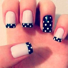 French Manicure Design With Polka Dots