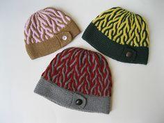 Free knitting pattern for Corkscrew beanie Hat pattern by Michelle Hunter