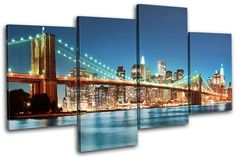 New York Skyline bridge City MULTI CANVAS WALL ART Picture Print VA