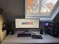 Nathan's bedroom PC Gaming Desk Setup, Pc Setup, Home Office Setup, Home Office Space, Desk Inspiration, Desk Plans, Gamer Room, Interior Design, Computer Desks