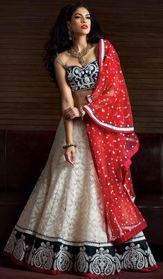Happy fourth of July! Red, white, and blue indian bridal ghagra choli from benzerworld! #indianwedding #indianweddingdress