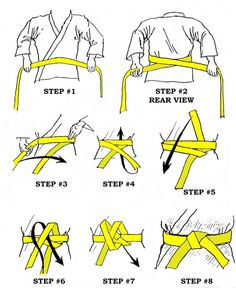 Since I've been asked 500 times this past month:  Karate - How to tie a belt