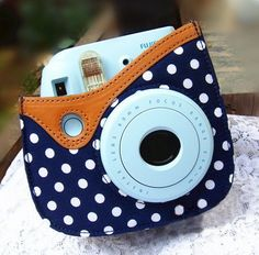 Colorful Dots Spot Camera PU Leather Case Bag For Fujifilm Instax mini 8 + Free Shoulder Strap - Blue http://minivideocam.com/product-category/camera-cases/