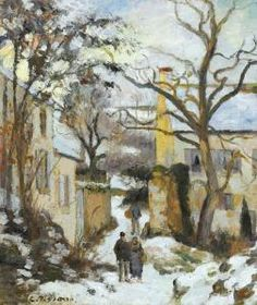 Camille Pissarro - La Maison Rondest Sous La Neige, Pontoise Or Chemin De L'hermitage, Pontoise, Sous La Neige  1875
