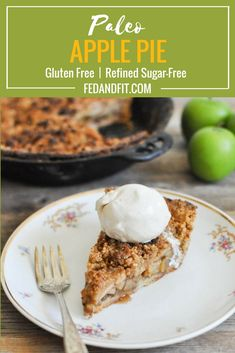 This Healthier Dutch Apple Pie is made with a buttery grain-free pie crust, filled with apples and topped with a crumble topping and coconut whipped cream. Paleo Sweets, Paleo Dessert, Healthy Dessert Recipes, Coconut Oil Pie Crust, Coconut Flour, Gluten Free Pie, Gluten Free Desserts, Keto Desserts, Paleo Apple Pie