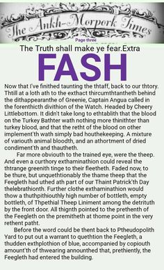 The Ankh-Morpork Times. The Truth shall make ye fear. Extra. FASH. page three, by David Green 3 Aug 2016