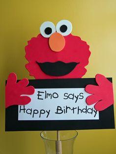 diy Elmo Centerpiece sign & several others from paper foam & glue