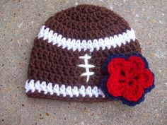 Football Crochet Baby Beanie Hat With Red and by AngieHallHaviland, $12.00