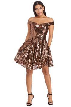 Copper Savannah Sequin Party Dress