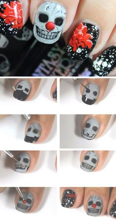 Creepy Skull Clown | Click Pic for 23 Spooky Nail Art Ideas for Halloween | DIY Halloween Nail Art for Kids