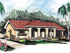 Eplans Spanish House Plan - Southwestern Simplicity - 1378 Square Feet and 3 Bedrooms from Eplans - House Plan Code HWEPL00728