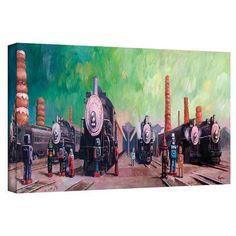 """ArtWall 'Trainyard' by Eric Joyner Painting Print on Wrapped Canvas Size: 16"""" H x 48"""" W"""