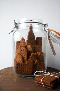 NYC skyline cookies in a jar - found on dessert girl