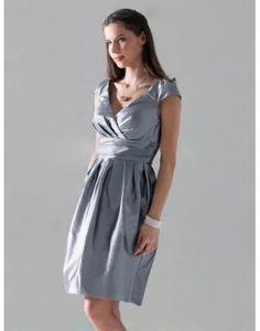 Taffeta V-neck Pleated Silver A-line Bridesmaid Dress