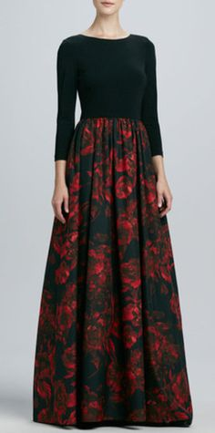 Modest 3/4 length sleeve gown with black bodice and floral skirt | Mode-sty hijab tznius fashion