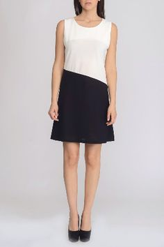 Anna Morellini Color Block Dress in Black and White