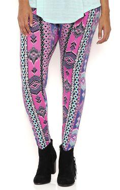 Deb Shops Plus Size Colorful Tribal Stripe Leggings $12.00
