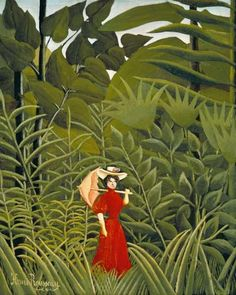 Henri Rousseau: Woman in Red in the Forest Henri Rousseau, Modern Artists, Artists Like, Post Impressionism, Impressionist, Jungle Scene, Paris Garden, Tropical, Naive Art