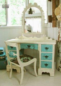 Old desk turned into vanity.