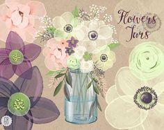Watercolor mason jar baby breath, anemone, cream rose, hellebores, bouquet florals, clip art, eucalyptus, rustic wedding, invitation