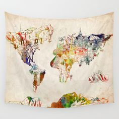 world+map+Wall+Tapestry+by+Bekim+ART+-+$39.00