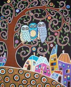 Karla Gerard Three Owl Tree Town Landscape Canvas ACEO Folk Art Print Very cute. (Size of a baseball card. We'd need bigger size. Art Fantaisiste, Owl Art, Bird Art, Art And Illustration, Owl Canvas, Canvas Art, Painted Canvas, Hand Painted, Doodle Art